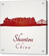 Shantou Skyline In Red Acrylic Print
