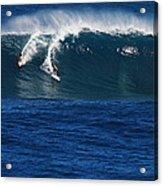 Sharing A Wave In Waimea Bay Acrylic Print