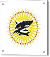 Shark Swimming Up Sunburst Woodcut Acrylic Print