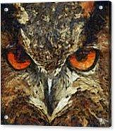 Sharpie Owl Acrylic Print by Ayse Deniz