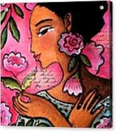 She Loves Flowers Acrylic Print