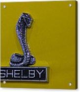 Shelby Gt350 Emblem On Yellow Acrylic Print