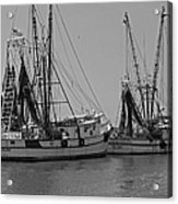 Shem Creek Shrimpers - Black And White Acrylic Print by Suzanne Gaff