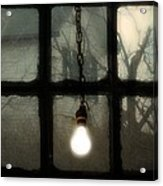 Lit Light Bulb Shines In Old Window Acrylic Print