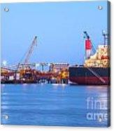 Ship And Port At Twilight Acrylic Print