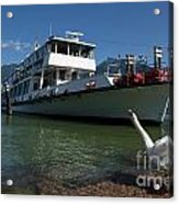 Ship And Swan Acrylic Print