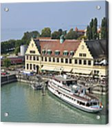 Ship In The Lindau Harbor Lake Constance Germany Acrylic Print