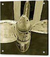 Ship Propeler In Black And White. Acrylic Print by Slavica Koceva