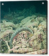 Ship Wreck And Motorbikes Acrylic Print