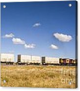 Shipping Containers On The Move By Train Acrylic Print by Colin and Linda McKie