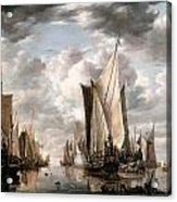 Shipping In A Calm At Flushing Wiht A States General Yacht Firing A Salute Acrylic Print by Jan van de Cappelle