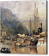 Shipping On The Hudson River Acrylic Print by Samuel Colman