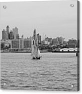 Ships And Boats In Black And White Acrylic Print