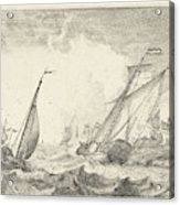 Ships At Sea, Ludolf Bakhuysen Acrylic Print