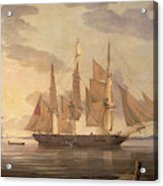 Ships In Harbor Signed And Dated Lower Right R Acrylic Print