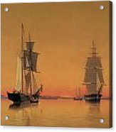Ships In The Boston Harbor At Twilight Acrylic Print by William Bradford