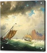 Ships On Stormy Ocean Acrylic Print by Pg Reproductions