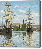 Ships Riding On The Seine At Rouen Acrylic Print by Claude Monet