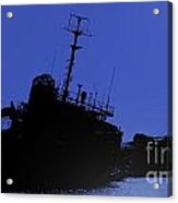 Shipwreck Of A Beached Diesel Tanker At Night Acrylic Print