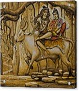 Shiva Parvati Ganesha Acrylic Print by Vrindavan Das