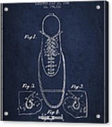 Shoe Eyelet Patent From 1905 - Navy Blue Acrylic Print
