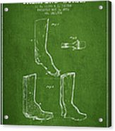 Shoes And Boots Crimping Board Patent From 1881 - Green Acrylic Print