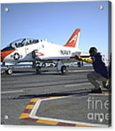 Shooter Signals To The Pilot Of A T-45c Acrylic Print