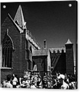 shoppers in market outside St Nicholas collegiate church Galway city county Galway Republic of Irela Acrylic Print