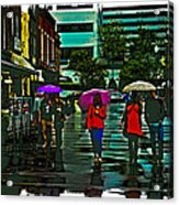 Shopping In The Rain - Knoxville Acrylic Print