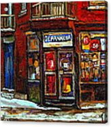 Shops And Streets Of St Henri- Montreal Paintings Depanneur Coca Cola Winter City Scenes Acrylic Print