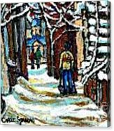 Shovelling Out After January Storm Verdun Streets Clad In Winter Whites Montreal Painting C Spandau Acrylic Print