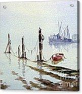 Shrimp Boat With Evening Lights Acrylic Print