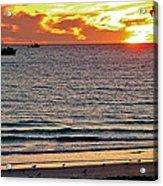 Shrimp Boats And Gulls Over Sea Of Cortez At Sunset From Playa Bonita Beach-mexico Acrylic Print