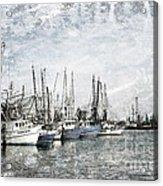 Shrimp Boats Sketch Photo Acrylic Print