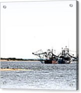 Shrimpers With Pelicans - Waiting On Shore Acrylic Print