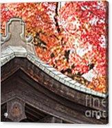 Shrine Roof And Autumn Leaves Arashiyama Kyoto Acrylic Print by Colin and Linda McKie