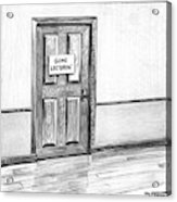Shut Door In A Hallway With A Sign That Read Gone Acrylic Print