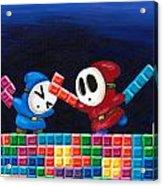Shy Guys Playing Tetris Acrylic Print by Katie Clark