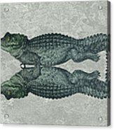 Siamese Twins Blue And Green Crocodiles On Sage Green Stone Acrylic Print