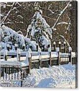 Side Cut Park Winter Wonderland Acrylic Print