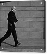 Side Profile Of A Businessman Running Acrylic Print