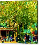 Sidewalk Cafe Rue St Denis Dappled Sunlight Shade Trees Joys Of Montreal City Scene  Carole Spandau Acrylic Print