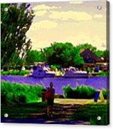 Sights Along The Harbor Late Day Stroll Lachine Canal Bike Path Montreal Scenes Carole Spandau Acrylic Print