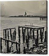 Siglufjordur Old Pier Black And White Acrylic Print