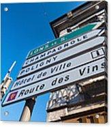 Sign For The Route Des Vins, Arbois Acrylic Print
