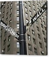 Signs For Broadway And Wall Street Acrylic Print