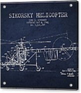 Sikorsky Helicopter Patent Drawing From 1943 Acrylic Print