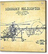Sikorsky Helicopter Patent Drawing From 1943-vintgae Acrylic Print