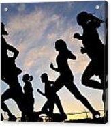 Silhouette Female Runners Acrylic Print