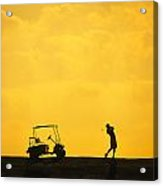 Silhouette Of A Man During A Golf Swing Acrylic Print